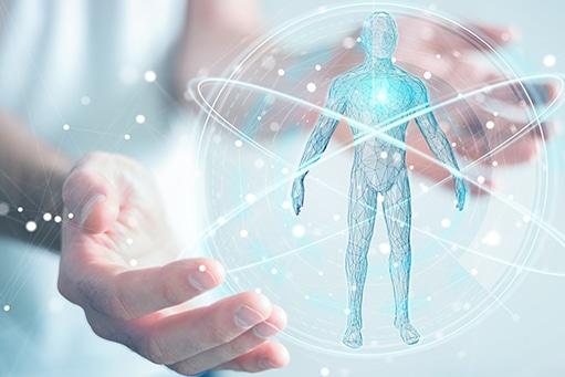 Darstellung eines Menschen umkreis von der Digitalisierung in der Physiotherapie: Bewegungsanalyse